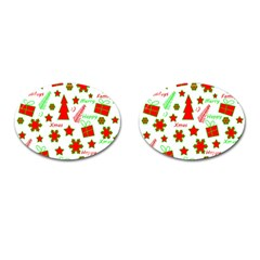 Red and green Christmas pattern Cufflinks (Oval)