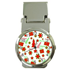 Red and green Christmas pattern Money Clip Watches