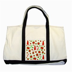 Red and green Christmas pattern Two Tone Tote Bag