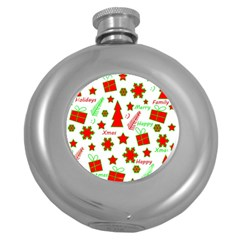 Red and green Christmas pattern Round Hip Flask (5 oz)