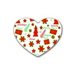 Red and green Christmas pattern Rubber Coaster (Heart)