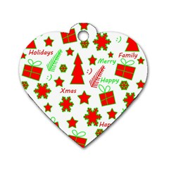 Red and green Christmas pattern Dog Tag Heart (One Side)