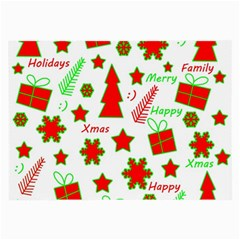 Red and green Christmas pattern Large Glasses Cloth