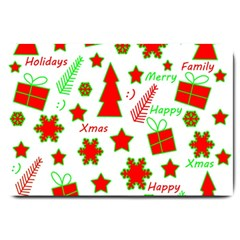 Red and green Christmas pattern Large Doormat