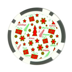Red and green Christmas pattern Poker Chip Card Guards