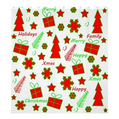 Red and green Christmas pattern Shower Curtain 66  x 72  (Large)