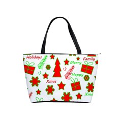 Red and green Christmas pattern Shoulder Handbags