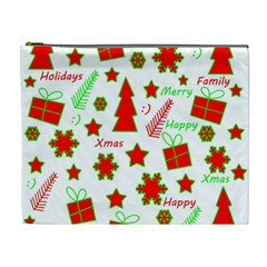 Red and green Christmas pattern Cosmetic Bag (XL)