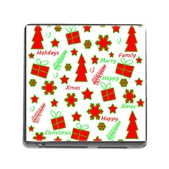 Red and green Christmas pattern Memory Card Reader (Square)