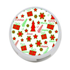 Red and green Christmas pattern 4-Port USB Hub (One Side)