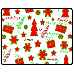 Red and green Christmas pattern Fleece Blanket (Medium)
