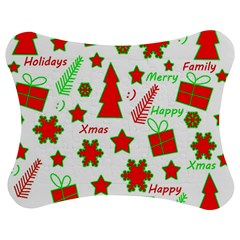 Red and green Christmas pattern Jigsaw Puzzle Photo Stand (Bow)