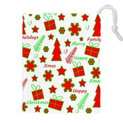 Red and green Christmas pattern Drawstring Pouches (XXL)