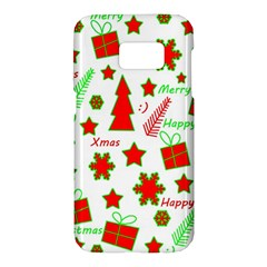 Red And Green Christmas Pattern Samsung Galaxy S7 Hardshell Case