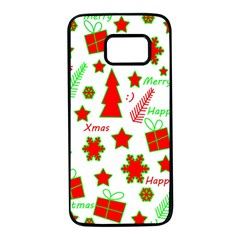 Red and green Christmas pattern Samsung Galaxy S7 Black Seamless Case