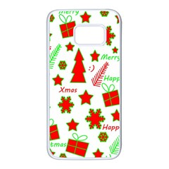 Red and green Christmas pattern Samsung Galaxy S7 White Seamless Case