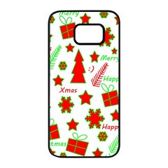 Red and green Christmas pattern Samsung Galaxy S7 edge Black Seamless Case