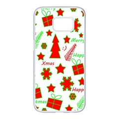 Red And Green Christmas Pattern Samsung Galaxy S7 Edge White Seamless Case