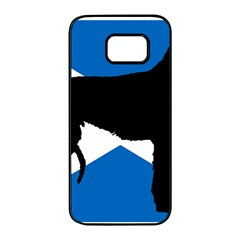 Scottish Deerhound Silhouette Scotland Flag Samsung Galaxy S7 edge Black Seamless Case