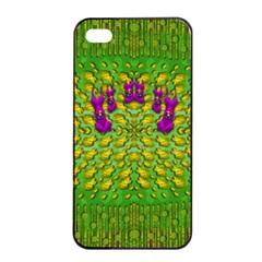 Flowers And Yoga In The Wind Apple Iphone 4/4s Seamless Case (black)