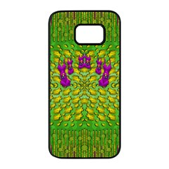 Flowers And Yoga In The Wind Samsung Galaxy S7 Edge Black Seamless Case