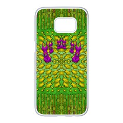 Flowers And Yoga In The Wind Samsung Galaxy S7 edge White Seamless Case