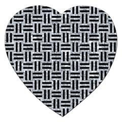 Woven1 Black Marble & Gray Marble (r) Jigsaw Puzzle (heart)