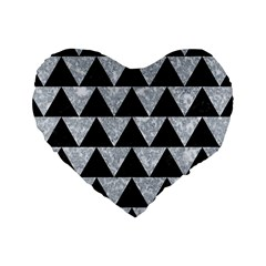 Triangle2 Black Marble & Gray Marble Standard 16  Premium Heart Shape Cushion