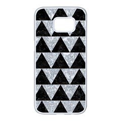 Triangle2 Black Marble & Gray Marble Samsung Galaxy S7 Edge White Seamless Case