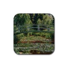 The Japanese Footbridge By Claude Monet Rubber Square Coaster (4 Pack)