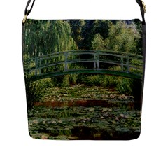The Japanese Footbridge By Claude Monet Flap Messenger Bag (l)