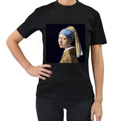 Girl With A Pearl Earring Women s T Shirt (black) (two Sided)