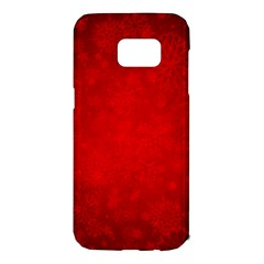 Decorative Red Christmas Background With Snowflakes Samsung Galaxy S7 Edge Hardshell Case