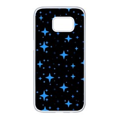 Bright Blue  Stars In Space Samsung Galaxy S7 Edge White Seamless Case