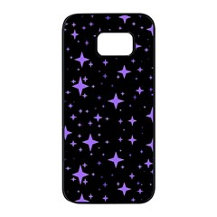 Bright Purple   Stars In Space Samsung Galaxy S7 Edge Black Seamless Case