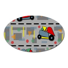 Toy Cars Oval Magnet