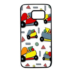 Toy cars pattern Samsung Galaxy S7 Black Seamless Case