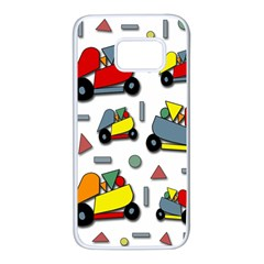 Toy Cars Pattern Samsung Galaxy S7 White Seamless Case