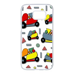 Toy cars pattern Samsung Galaxy S7 edge White Seamless Case