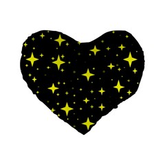 Bright Yellow   Stars In Space Standard 16  Premium Heart Shape Cushions