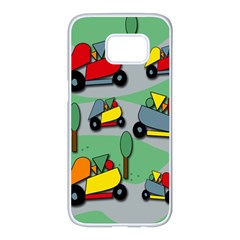 Toy car pattern Samsung Galaxy S7 edge White Seamless Case
