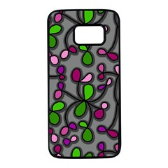 Floral pattern Samsung Galaxy S7 Black Seamless Case