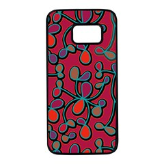 Red floral pattern Samsung Galaxy S7 Black Seamless Case