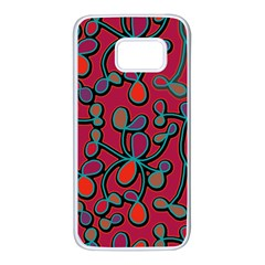 Red floral pattern Samsung Galaxy S7 White Seamless Case