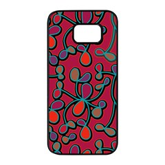 Red Floral Pattern Samsung Galaxy S7 Edge Black Seamless Case