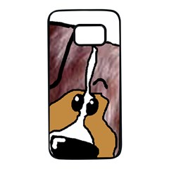 Red Merle Peeking Mini Aussie Samsung Galaxy S7 Black Seamless Case
