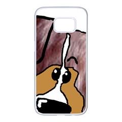 Red Merle Peeking Mini Aussie Samsung Galaxy S7 edge White Seamless Case
