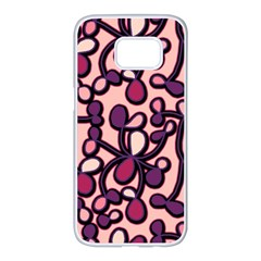 Pink and purple pattern Samsung Galaxy S7 edge White Seamless Case