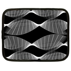 Wavy Lines Black White Seamless Repeat Netbook Case (large)