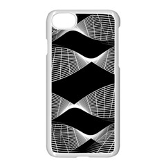 Wavy Lines Black White Seamless Repeat Apple Iphone 7 Seamless Case (white)